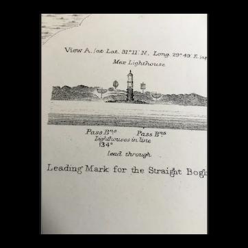 Egypt, Alexandria Harbour, 1918 edition British Admiralty sea chart