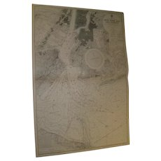 New York Bay & Harbour 1902 edition,  A Vintage British Admiralty sea chart