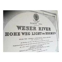 GERMANY, Weser River - Hohe Weg Light to Bremen, 1934 edition chart