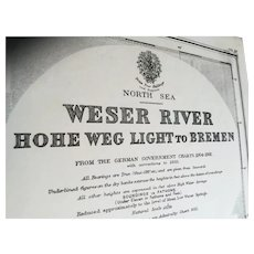 GERMANY, Weser River - Hohe Weg Light to Bremen, 1934 edition chart