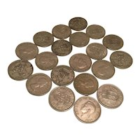 20 x British 1 Shilling Coins 1940's to 1960's