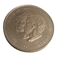 A vintage British Crown Coin celebrating the marriage of Prince Charles & Princess Diana, 1981