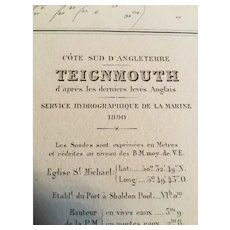 Teignmouth & Exmouth, UK, 1905 edition French nautical chart