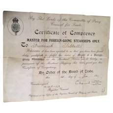 Ship Captain's Certificate of Competency issued 1917