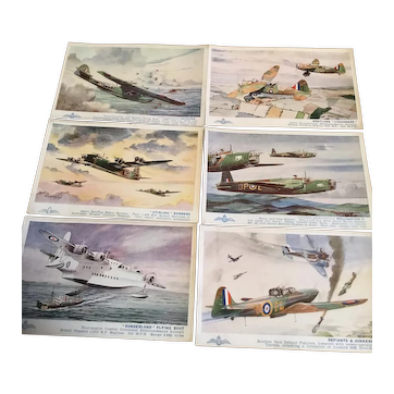A set of 6 vintage postcards of British RAF aircraft from WW2