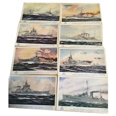 A set of 8 vintage postcards of British Warships from WW2