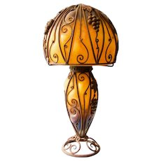 Large French Antique Art Nouveau Table Lamp, early 1900s
