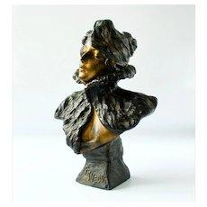"""Emmanuel Villanis, """"La Frileuse"""", Antique Spelter Art Nouveau Bust"""