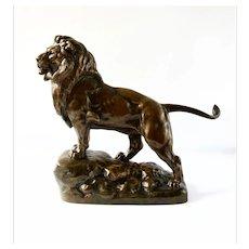 """Jules-Edmond Masson (1871-1932) """"Lion on the Rock"""", Société des Bronzes de Paris, 19th Century"""