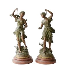 Truth and Fable Patinated Spelter Sculpture by Ernest Rancoulet - Art Nouveau 1900 - Antique French France