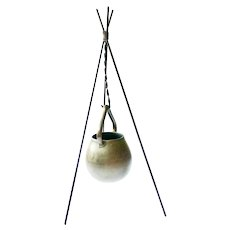 Primitive style Cooking Pot on Tripod Stand, 1950s