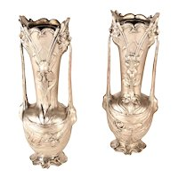 19th Century Art Nouveau Silver Metal Vases Signed Galien - a Pair