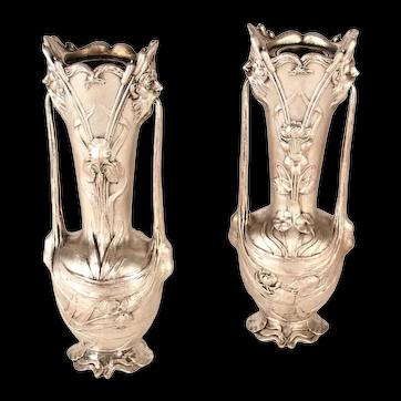 19th Century Art Nouveau Silver Metal Vases Signed Galien - a Pair