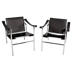 Le Corbusier Lc1 Black Leather Lounge Chairs - a Pair