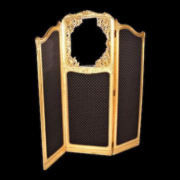 Late 19th Century French Louis XVI Style Three-Fold Gilt-Wood Floor Screen