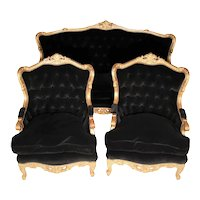 French Giltwood Louis XVI Style Velvet Back Sofa Set - 3 Pieces