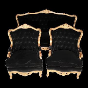 French Giltwood Louis XVI Style Velvet Back Sofa Set - 3 Pieces