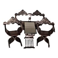 19th Century Savonarola Seating Set - 4 Pieces