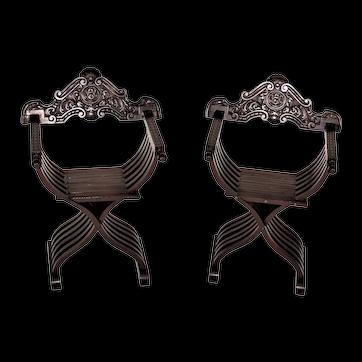 19th Century Savonarola Carved Walnut Folding Scissors Savonarola Chairs - a Pair