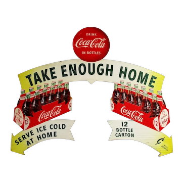 Original 1954 Double-sided Coca-Cola Cut-Out Cardboard Advertisement