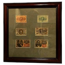 Framed Circulated  Fractured Currency 5c, 10c, and 25