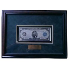 1914 Federal Reserve Bank Blue Seal 5 Dollar Bill