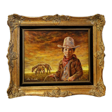 Little Cowboy Oil Painting by Lee Dubin