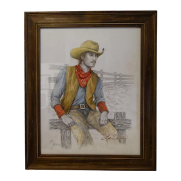 Cowboy Sitting on the Fence Original Pencil Sketch with Color by Lee Dubin