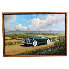 1958 Jaguar Motor Car Original Oil Painting by Stan Stokes