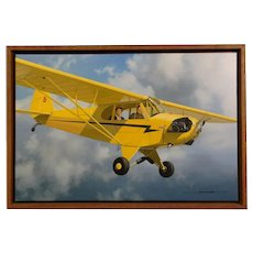 Piper Cub Airplane 1936 Original Oil Painting by Stan Stokes