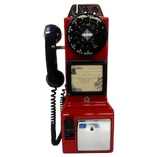 Restored Original 1950's Automatic Electric 3-Slot Coin Red Payphone Fully Operational