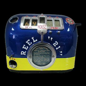 1930's Reel 21 Five Reel Trade Stimulator Gum Ball Slot Machine