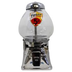 Original Chrome Regal 5 Cent Peanut Dispenser Candy Machine Circa 1940's