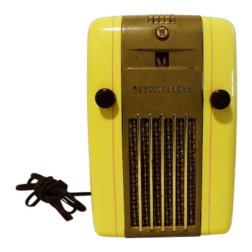 1940's Original Restored Yellow AM Westinghouse Radio