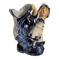 Antique Victorian Figurine/Vase of girl with Dolphin