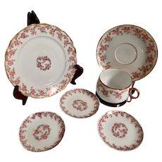 Antique Limoges Teacup, Saucer, Plate plus 3 Small Plates