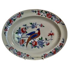 Large Oval Platter with Floral Design Surrounding an Asiatic Pheasant