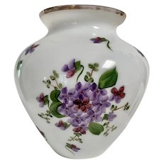 Large Vintage Glass Vase:  Lustrous White with Hand Painted Violets