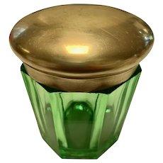 Emerald Green Dresser Jar with Brass Lid