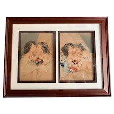 """Wide Awake"" and ""Fast Asleep"" German Prints in a Modern Frame"