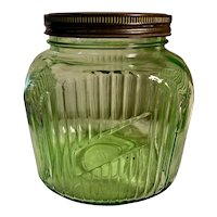 Large Depression Glass Green Kitchen Canister