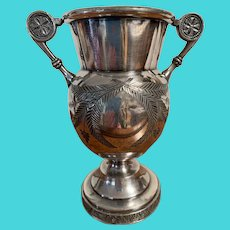 James W. Tufts Triple Plate Silver Bud Vasr Circa 1880