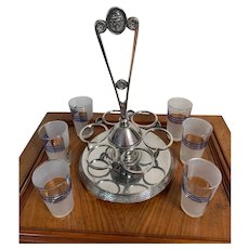 Antique Silver Plate Revolving Beverage Server with 6 glasses