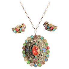 Vintage Large Oval Multi-Colored Pendant with Earrings