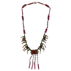 Antique Pink and Green Necklace with Dangles