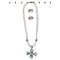 Moonstone Pendant on Beaded Necklace with Moonstone earrings