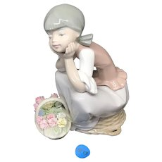 "LLadro ""Pondering Girl Sitting on Basket w Flowers"" #5173"