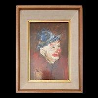 Vintage J. Cox Oil Portrait of Clown c.1970