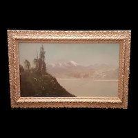 Antique Oil Landscape of California Cascades c.1900