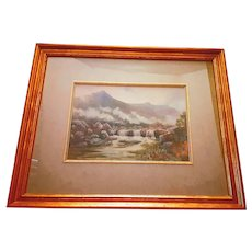Antique Edwin Charles Pascoe Holman Watercolor Landscape of English Moorland d.1920